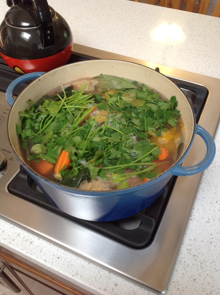 My broth, bubbling away. So colorful and pretty in the pot!